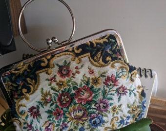 VINTAGE FLORAL CARPETED Mini Bag With Circular Handle