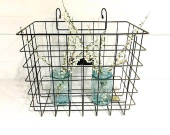 Vintage Bicycle Basket Wire Metal Black