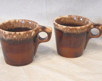 2 Hull Pottery Drip Glaze Coffee Mugs Brown Mocha Oven Proof Coffee Tea