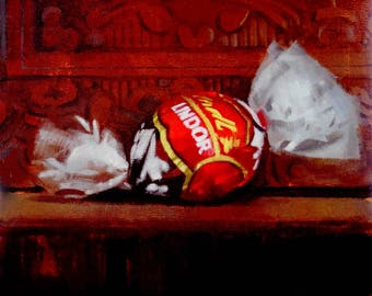 "Archival 10"" x 10"" Art Print / Free Shipping / Red Lindor Truffle (no.152) Oil Painting Realism Still Life Candy Lindt Chocolate"