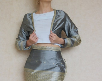Grey Silk Bolero Jacket and Skirt