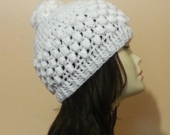 Crocheted Beanie Hat, Crochet Bobble Hat, Crochet Skullcap Beanie, Crochet Popcorn Hat, Bobble Hat. FREE UK DELIVERY