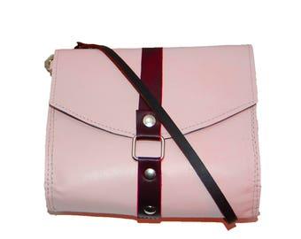 Leather Crossbody Bag, Pink Leather Purse, Blush Leather Cross Body Bag, Leather Wristlet, Pink Leather Bag, Genuine Leather Crossbody