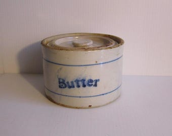 Antique Stoneware Butter Crock with Original Lid