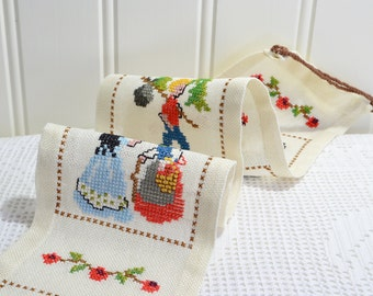 Wallhanging embroidered childrens fairy tale, vintage Swedish cross stitched linen, kids room decor