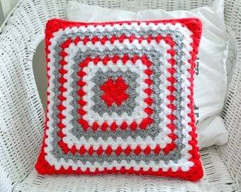 "Granny throw pillow, red, grey and white 13"" pillow, handmade crochet, made in sweden , Christmas home decor"
