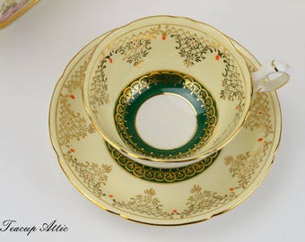 Royal Grafton Green And Cream Teacup and Saucer, English Bone China Tea Cup And Saucer Set, Replacement China, Tea Party, ca. 1950
