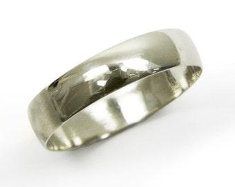 White gold wedding ring. 14k white gold 5mm wedding band ,  matte wedding ring, classic wedding ring, men women wedding ring (gr-9377-663)