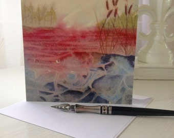 Note Card from a Manon Jodoin's Poetic watercolor, Experimental landscape no.5, stationery, greeting cards, blank inside,  Stylized cattails