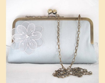 Wedding clutch bag with shoulder chain in pale blue silk with floral corsage and Swarovski crystals, bridal purse, optional personalisation