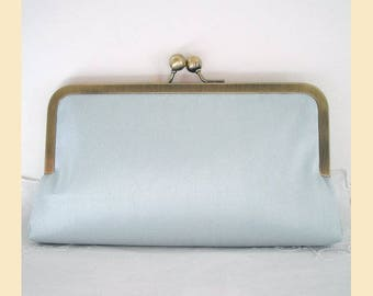 Wedding clutch bag in pale blue silk with antique brass or silver frame, handmade bridal purse, optional personalisation