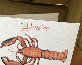 You're my lobster, valentines card, for Valentine's Day, for him, for her, pun card