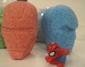 3 SUPERHERO Bath Bomb HEADS  - individually wrapped with superhero toys inside