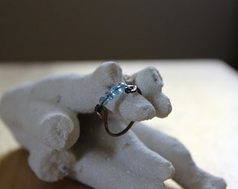 Blue Crystal Wired Ring