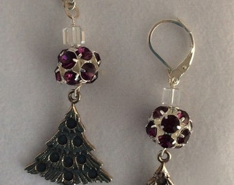 Amethyst Swarovski rhinestone ball, clear cube crystal and silver Christmas tree earrings - Sale