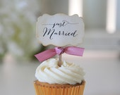 Wedding cupcake toppers, Just Married Cupcake toppers, Wedding Decoration, Reception, Candy Table, Sweets Table, 12 toppers per set