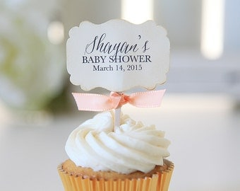 Baby Shower Cupcake toppers, Mommy to be, Vintage, Shabby Chic, 12 Toppers per 1 order
