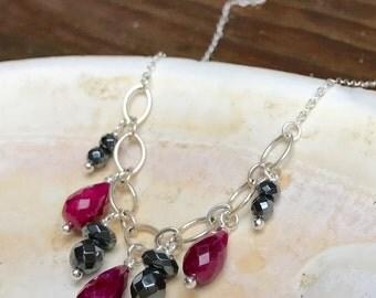 Ruby & Hematite Gemstone Statement Necklace