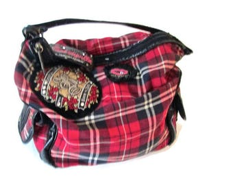 Vintage Betseyville Purse Tote Fabric Royal Stewart Tartan Plaid Red Black Punk