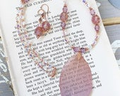 OOAK Break of Dawn - Swarovski Crystal Beaded Leaf - Real Leaf Necklace with crystal strand necklace and Matching Earrings