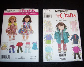 Simplicity 5733 or Simplicity 3936..New American Girl Doll Clothing Patterns..18 Inch Doll Patterns..Jacket..PJ's..Skirt..Top..Dresses..
