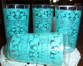 1960's Retro Kitchen Glassware..Turquoise Drinking Glasses...Set of 4...Very Retro...Very Cool...