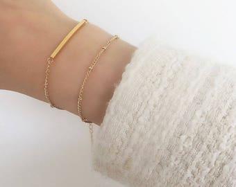 18k gold bracelet, Delicate bar bracelet, Simple gold bracelet, simple silver bracelet, Delicate gold bracelet, Minimalist bracelet,