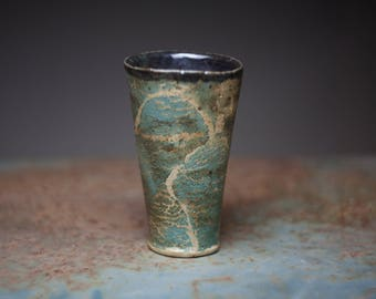 Hand build ceramic tumbler, stoneware tall tumbler,wood fired pottery,faces