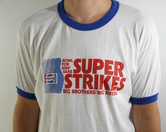 Vintage Super Strikes Bowling For Kids Sake Pepsi Team Captain Ringer T Shirt
