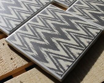 Grey Chevron Four Piece Ceramic Tile Coaster Set