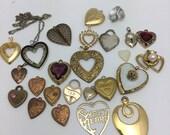 Heart Destash Vintage Hearts Jewelry Lot gold heart charms heart pendants