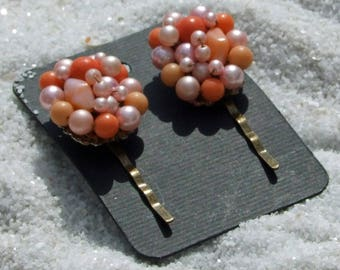 Hair Pins, Wedding Bobby Pins, Vintage Earrings, Vintage Bobby Pins, Beaded Hair Pins, Orange Bobby Pins, Hair Accessories