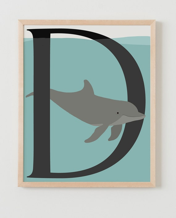 Animal Alphabet, D is for Dolphin Fine Art Print