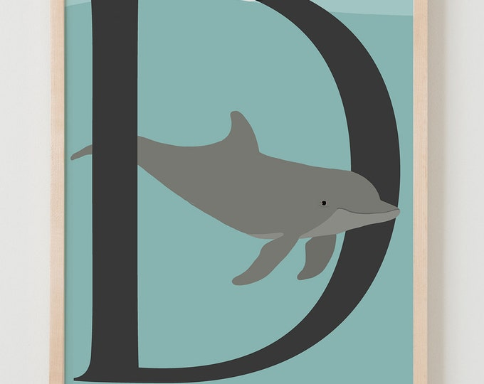Animal Alphabet, D is for Dolphin Fine Art Print