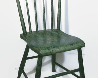 Rustic Wood Chair, Green Chippy Paint, Primitive Accent Chair, Vintage Shabby Chic Chair