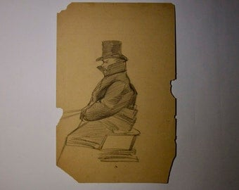 Sketch Of Man In Over Coat And Top Hat 1800's Drawing