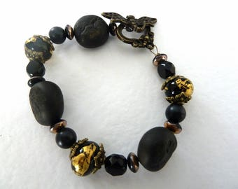 handmade lampwork black and gold bracelet, UK jewellery