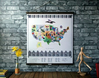 U.S. State Flower Map / Vintage Pull Down Reproduction / Canvas Fabric or Paper Print / Oak Wood Hanger with Brass Hardware / Organic Finish