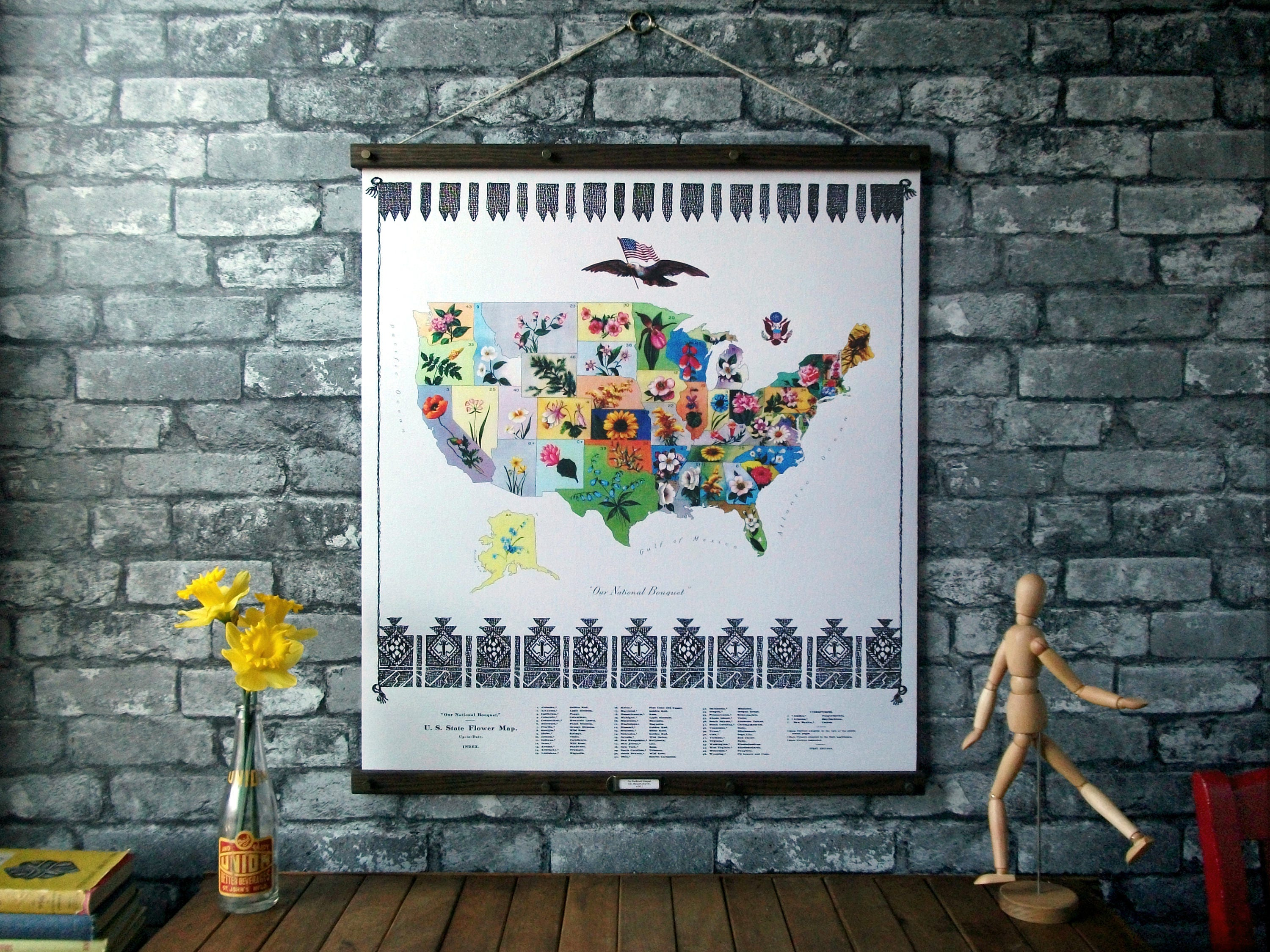 U S State Flower Map Vintage Pull Down Reproduction