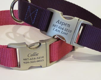 Personalized Dog Collar - Custom Dog Collar With All Metal Buckle Laser Engraved With 16 Webbing Colors To Choose From