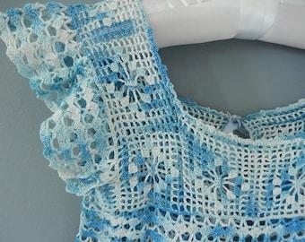 Antique Baby Dress - Blue Crocheted Dress - Toddler Crocheted Dress - 1930s Crocheted Dress - Little Girls Handmade Dress