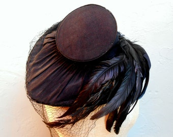 1940 Awesome Black Hat with original Feathers and Net