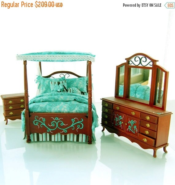 Sale teal chocolate brown victorian canopy by miniaturelane for Chocolate brown bedroom furniture