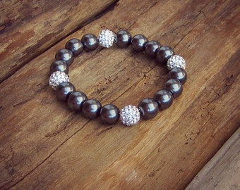 Pearl Bracelet • Gunmetal Grey • Pearl • Shamballa Rhinestone • Beaded Bracelet • Healing Bracelet • Stacking Bracelet • Mala