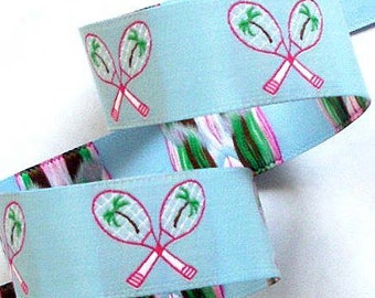 """Tennis with Palm Trees Woven Jacquard Ribbon 1""""  - Lt. Blue, Pink,Green and White Tennis2010"""