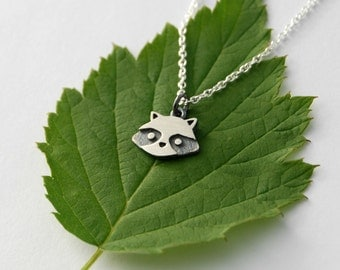 Mini racoon pendant sterling silver woodland jewelry