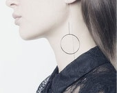ON SALE Long open circle threader chain earrings