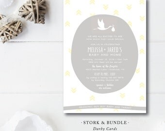 Stork & Bundle Baby Invitation | Gender Reveal Baby Shower Party Invitation | Baby and New Home | Printed or Printable by Darby Cards