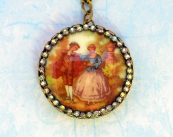 SALE! Romantic vintage courting couple cameo pendant necklace, tan, cream, blue Victorian style antique brass pendant necklaces, rhinestones