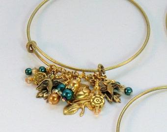 Leaf and flower charm stackable bangle, adjustable antique gold and teal bracelet, rose charm boho pearl and rhinestone bangle